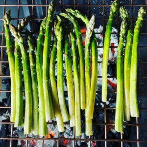 Albourne Estate BBQ - English Asparagus on a BBQ