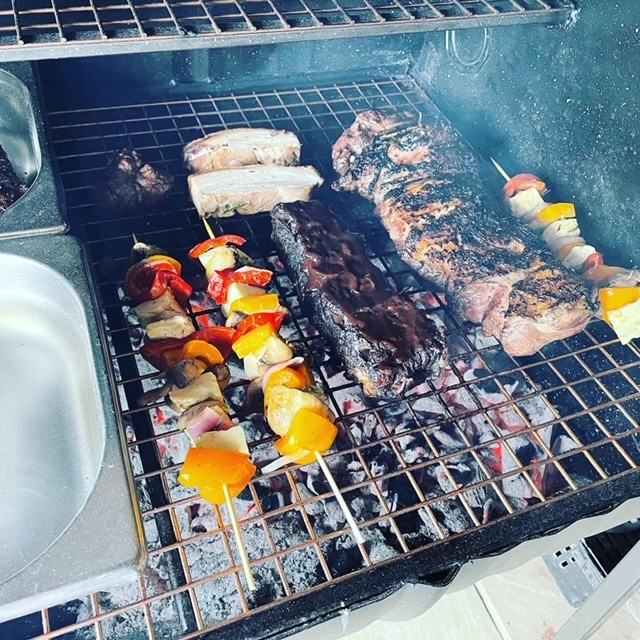 Albourne Estate BBQ - Meat and Vegetables on the grill