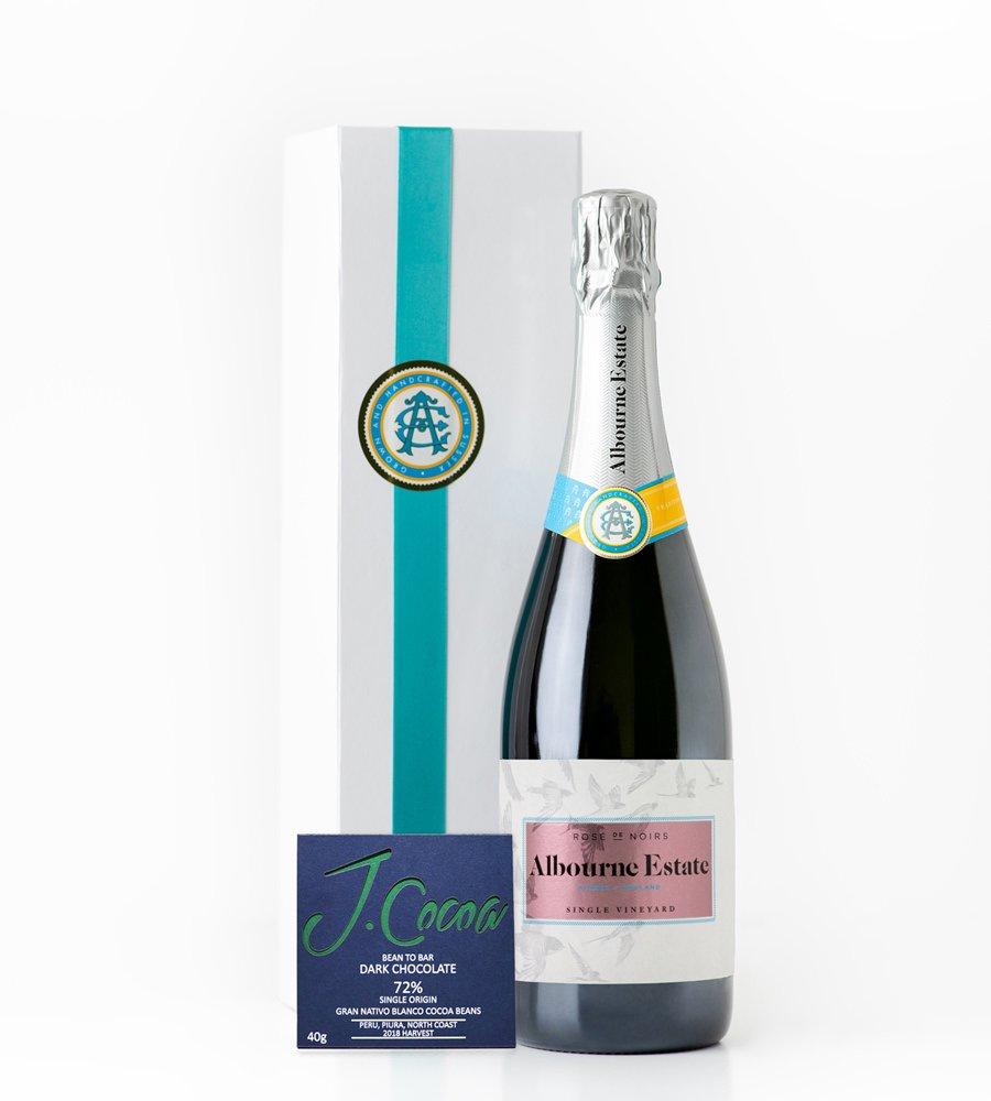 Albourne Estate Valentine Gift Sussex Rosé de Noirs with J.Cocoa Gran Nativo Blanco